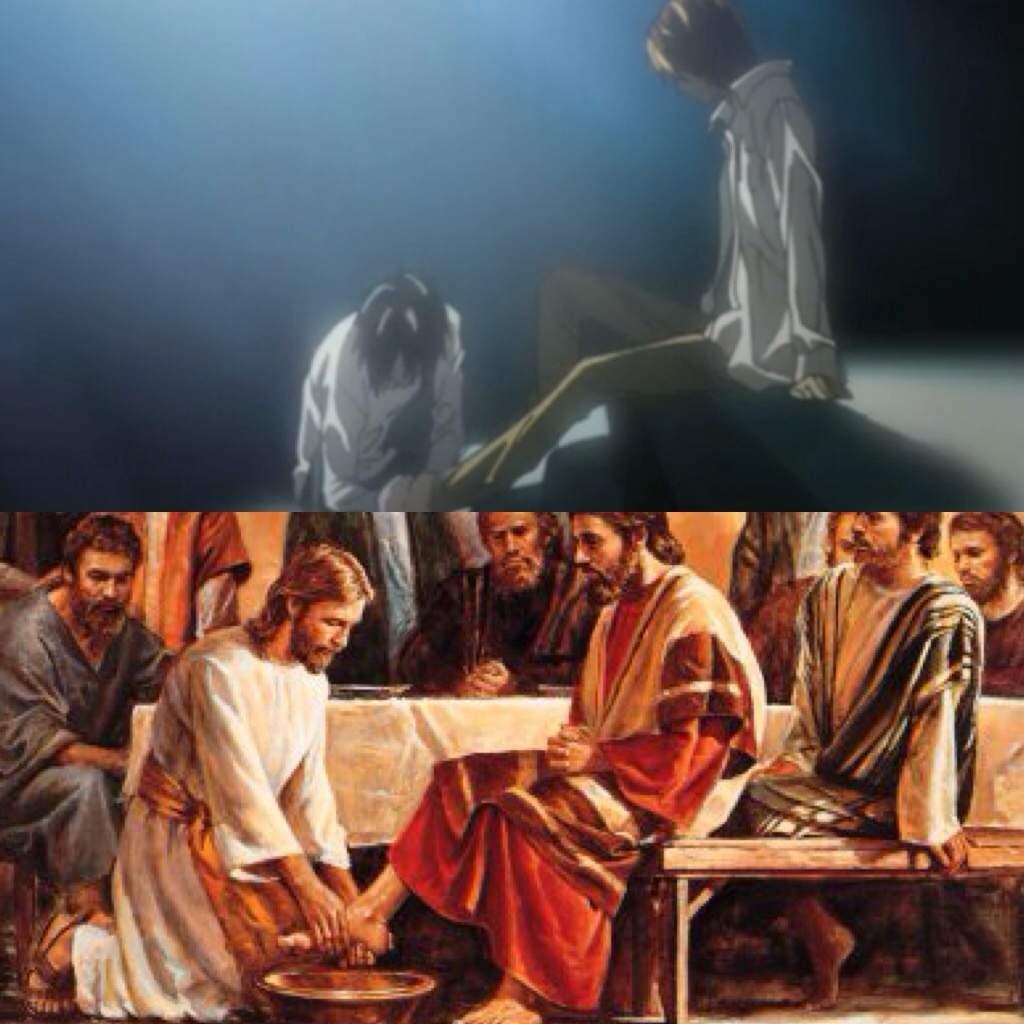 Resultado de imagen para judas y jesus lavado death note