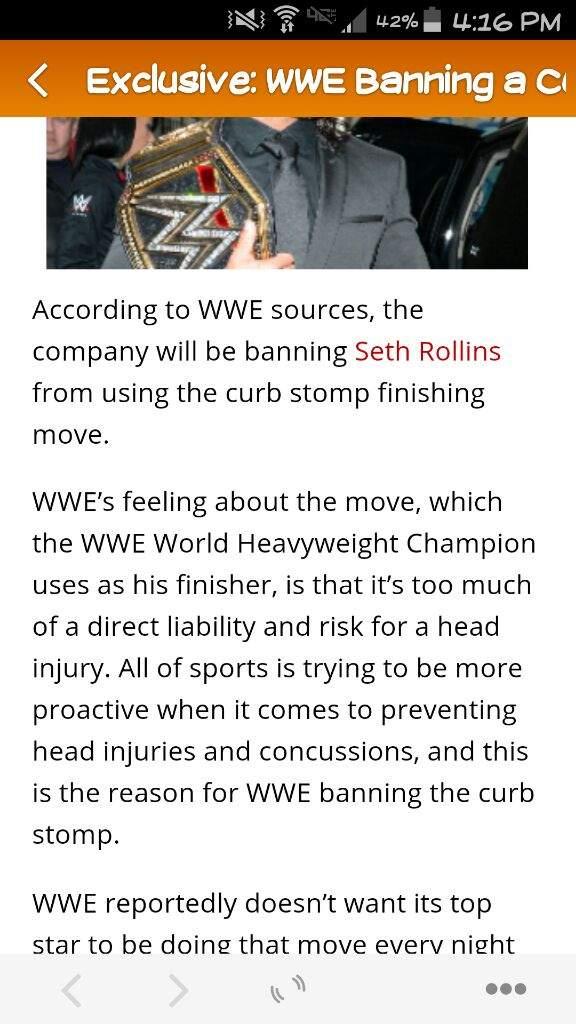 WWE BANNING SETH ROLLINS' CURB STOMP | Wrestling Amino
