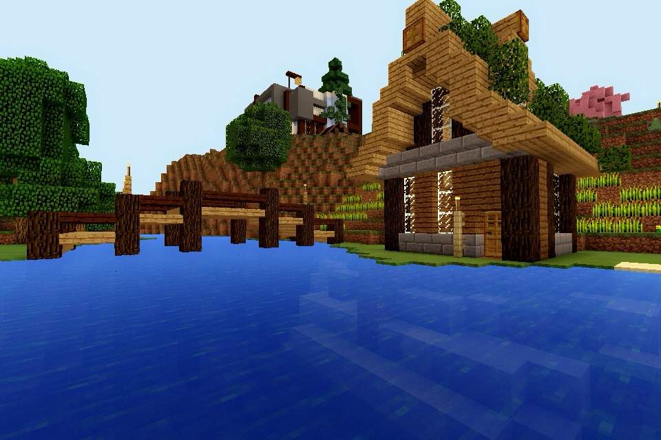 Minecraft pe build 2 fishing hut minecraft amino for How to fish in minecraft pe