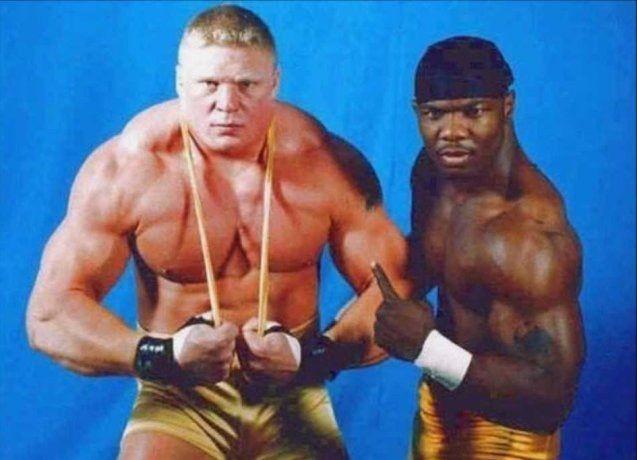 """Image result for Brock Lesnar was a former friend of """"The Gold Standard"""" Shelton Benjamin"""
