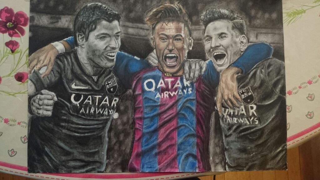 My drawing of neymar suarez and messi | Art Amino