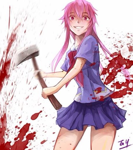 Crazy anime girl with pink hair