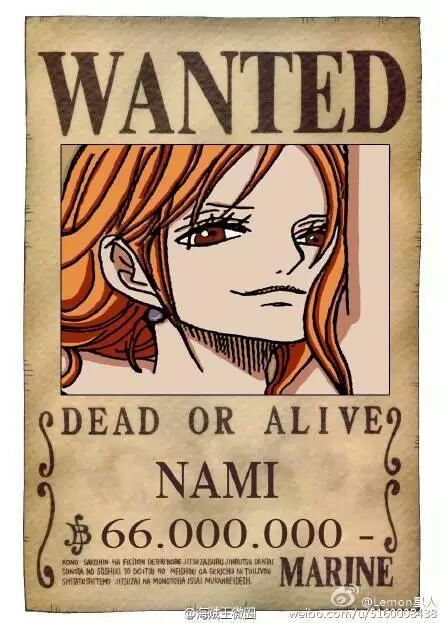 Image Gallery nami wanted poster