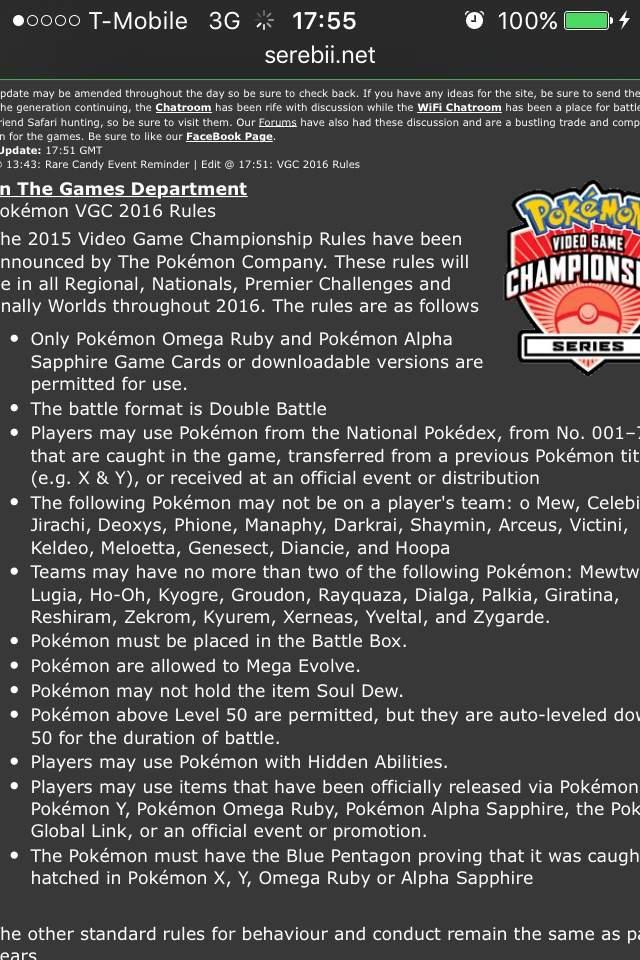 Pokemon vgc rules