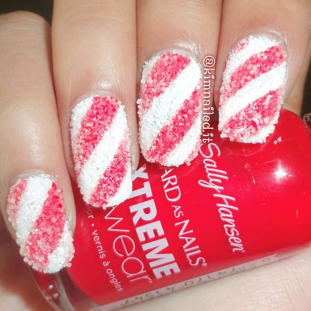 Salted candy cane nails nail art amino