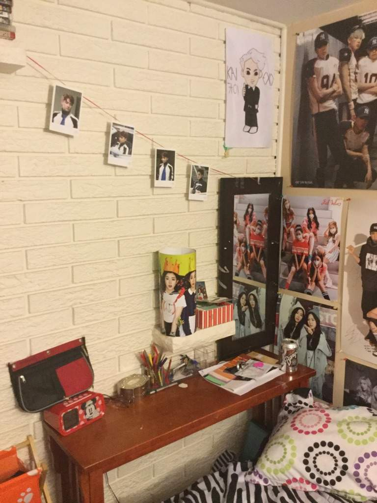 Bedroom wall with posters - Some D O Exodus Polaroid Photos I Put On A String Since I Have A Brick Wall And That One Red Velvet Poster On That Brick Shelf I Drew That Kai One