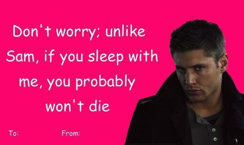 HAPPY VALENTINEu0027S DAY!! To Celebrate, Iu0027ve Dug Up Some Funny Supernatural  Valentine Cards XD They Arenu0027t Mine, But I Wanted To Make This Post And  Show You ...