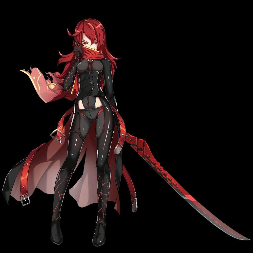 Аниме девушка демон с красными волосами