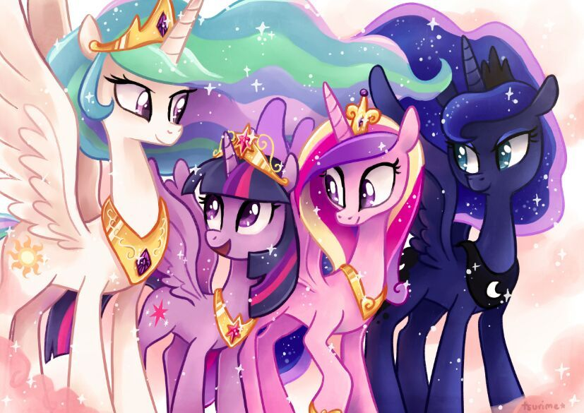 Luna And Celestia And Cadence And Twilight