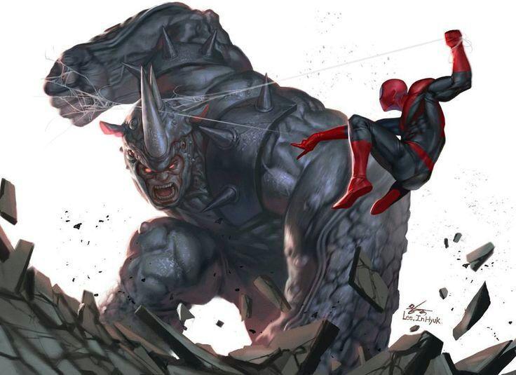 black spiderman vs rhino - photo #1