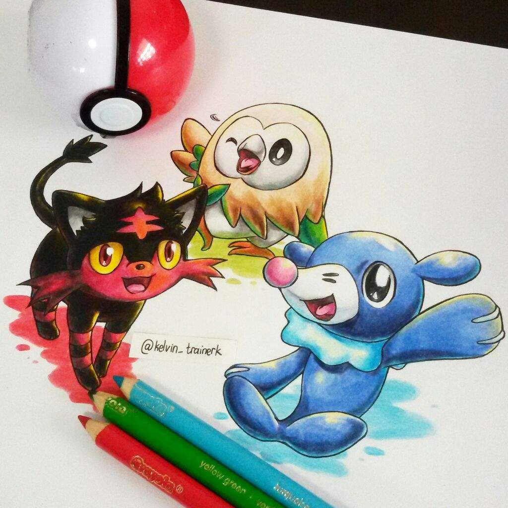 Three new starters of the Alola region, Litten, Rowlet, and Popplio ...