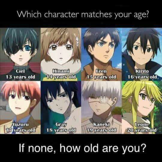 Anime Characters Age : Which character matches your age anime amino