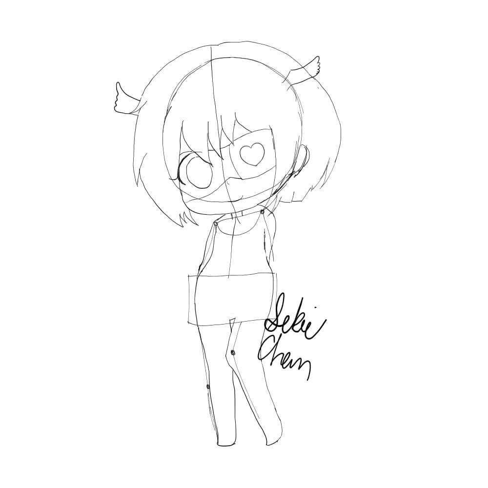 Step 6  Axel Wears A Kind Of School Girl Outfit Now This Is Harder To See  But Draw Out The Clothing The Best You Can If You Have To Erase The