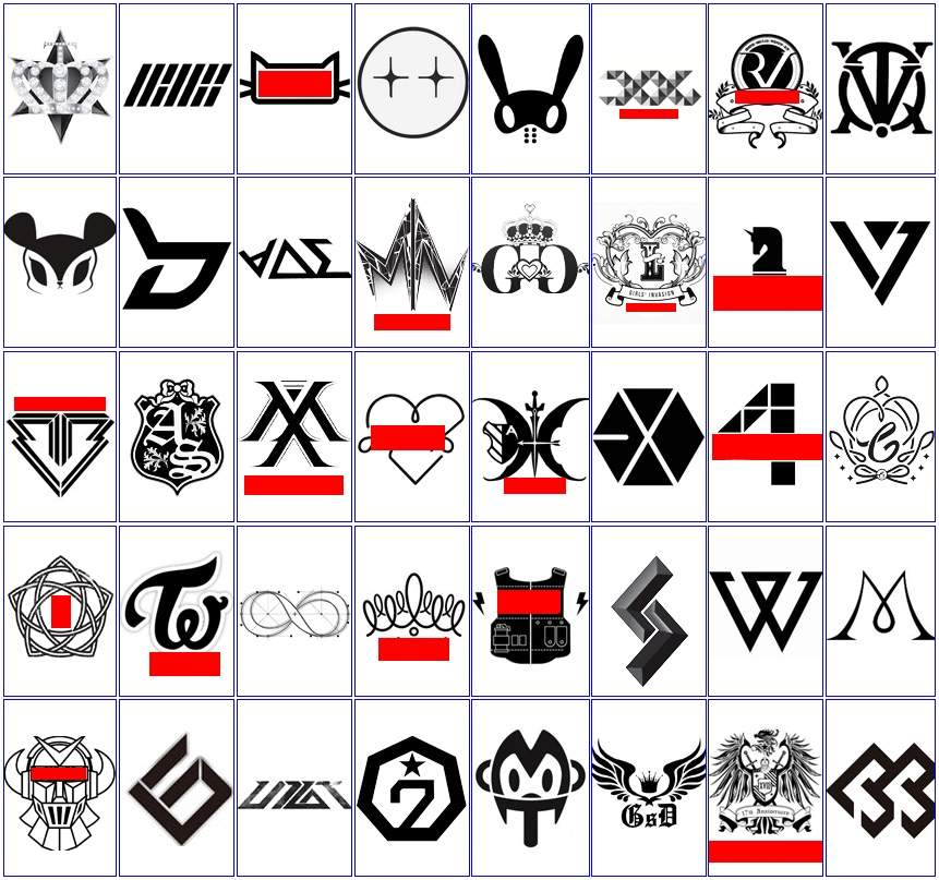 does anyone recognise these kpop logos if so comment below the names of the ones you know k