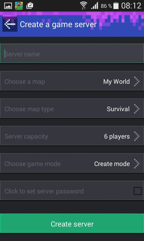 minecraft pe server password