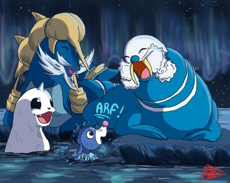 i found this cute pic of popplio and dewgong and some pokemonz