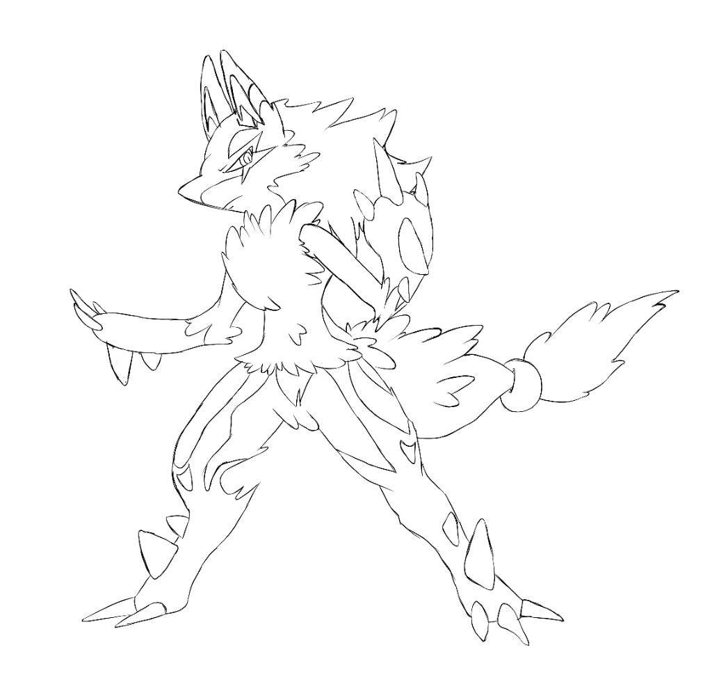 Pokemon coloring pages of mega lucario - Mega Lucario X Zoroark Fusion Line Art And Wip Color