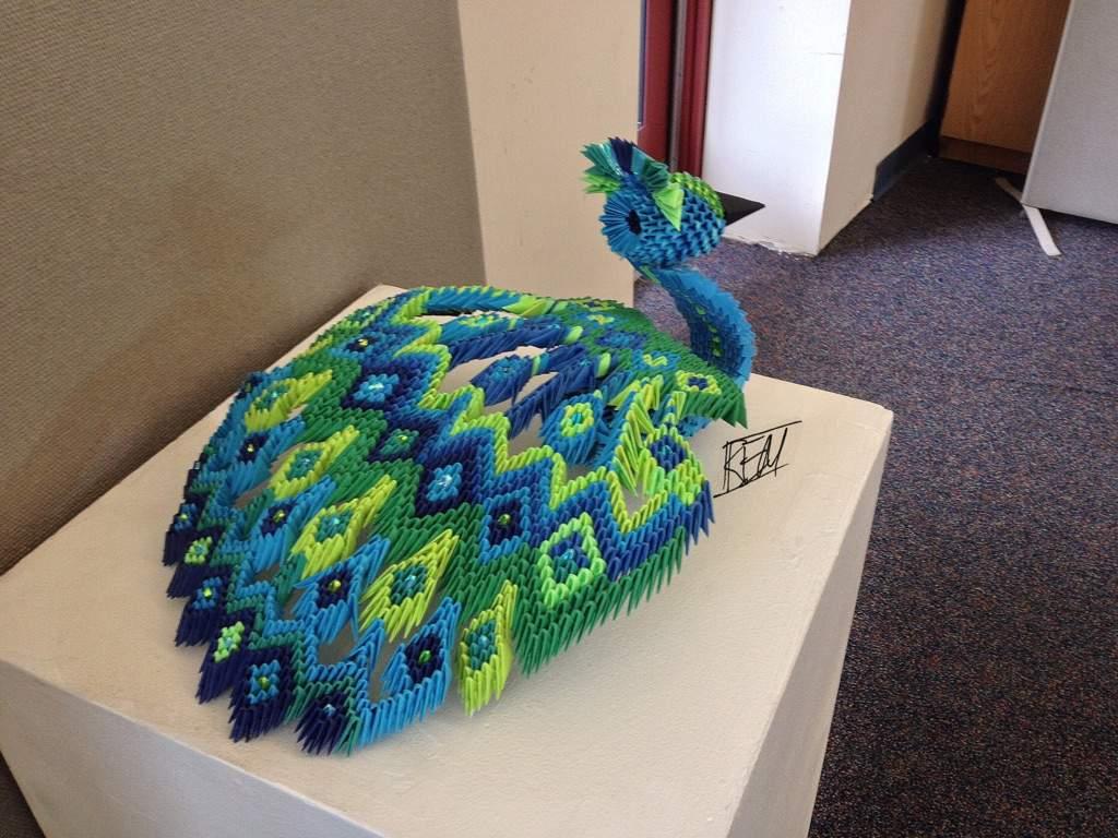 3d origami peacock art amino