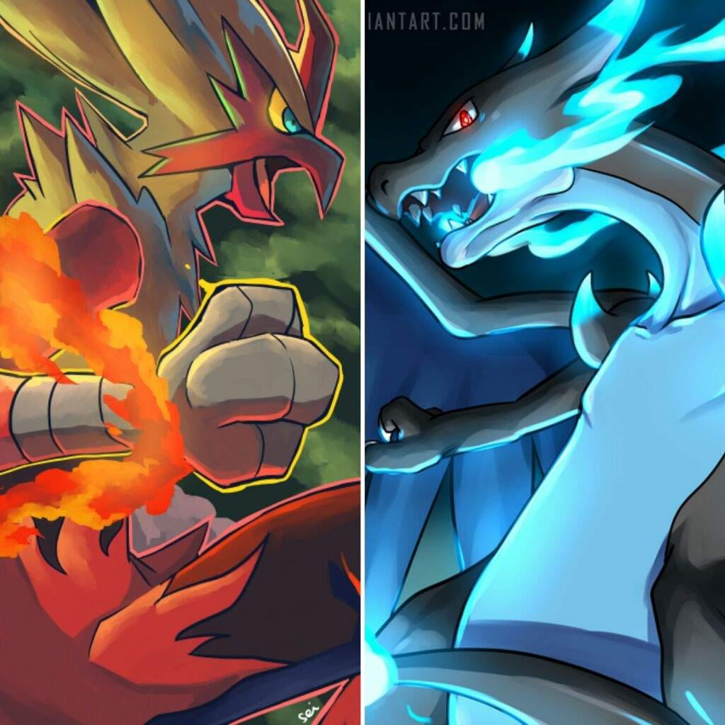 [1v1 Pokemon Battle] Mega Charizard-X vs Mega Blaziken ...
