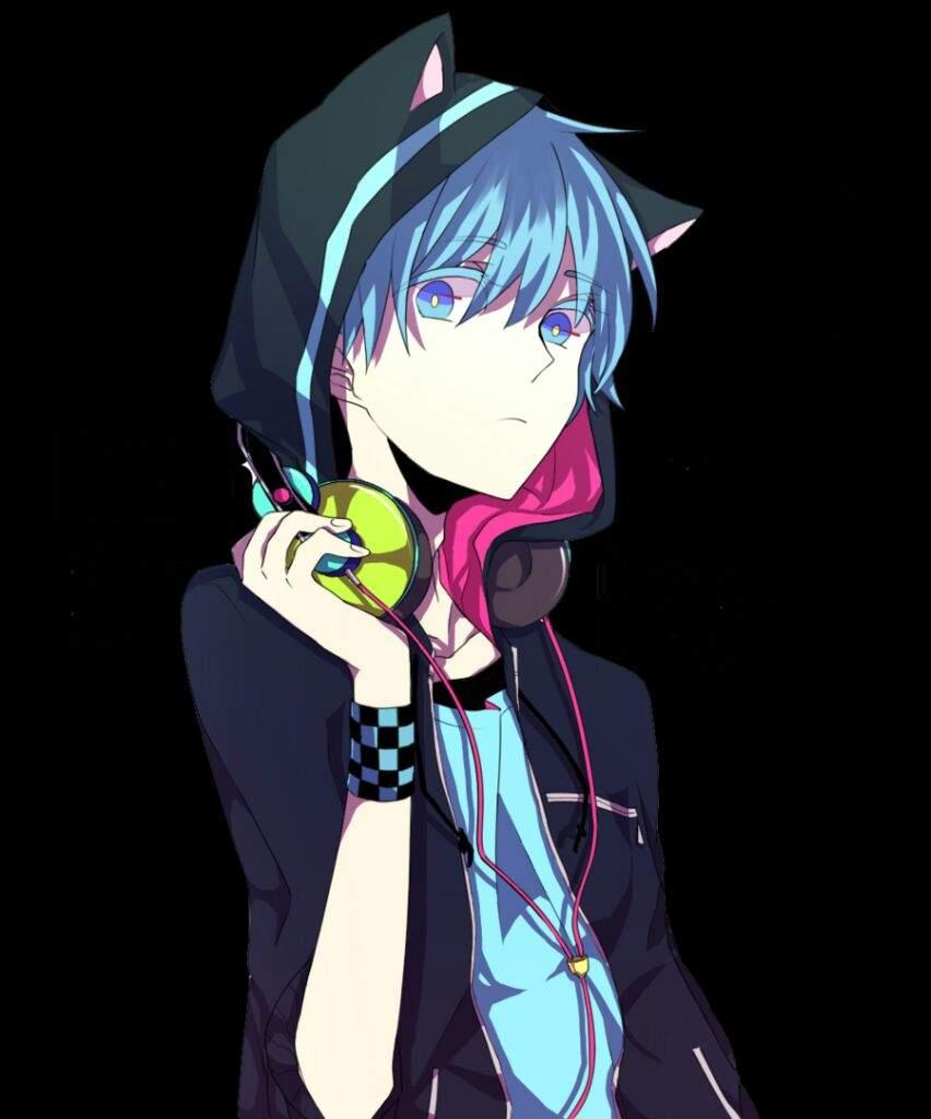 Blue haired neko anime girl