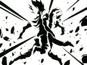 Al llegar a la Tierra, Goku le arroja los Pendientes a su hijo, pero este no consigue atraparlos, por lo que comienza a buscarlos mientras Goku distrae a