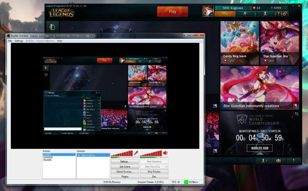 how to get obs to record league of legends