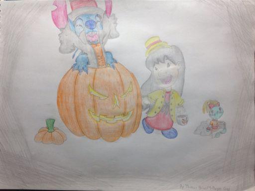Lady Lilo Professor Stitch Halloween Drawing Cartoon Amino