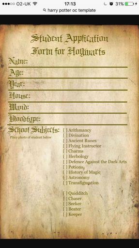 Oc Template Wiki Harry Potter Amino