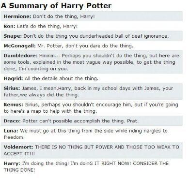harry potter summary