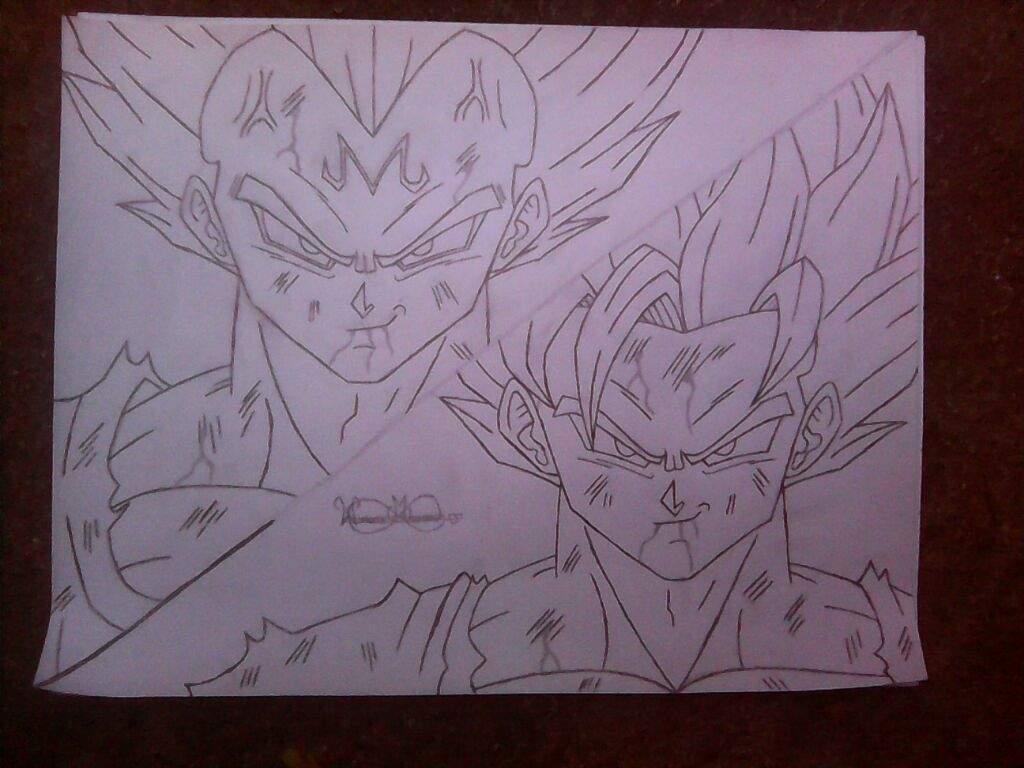 Majin Vegeta Vs Ssj2 Goku Lineart By Brusselthesaiyan On: Drawing Goku Vs Majin Vegeta