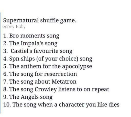 SPN Music Shuffle! 😉 | Supernatural Amino