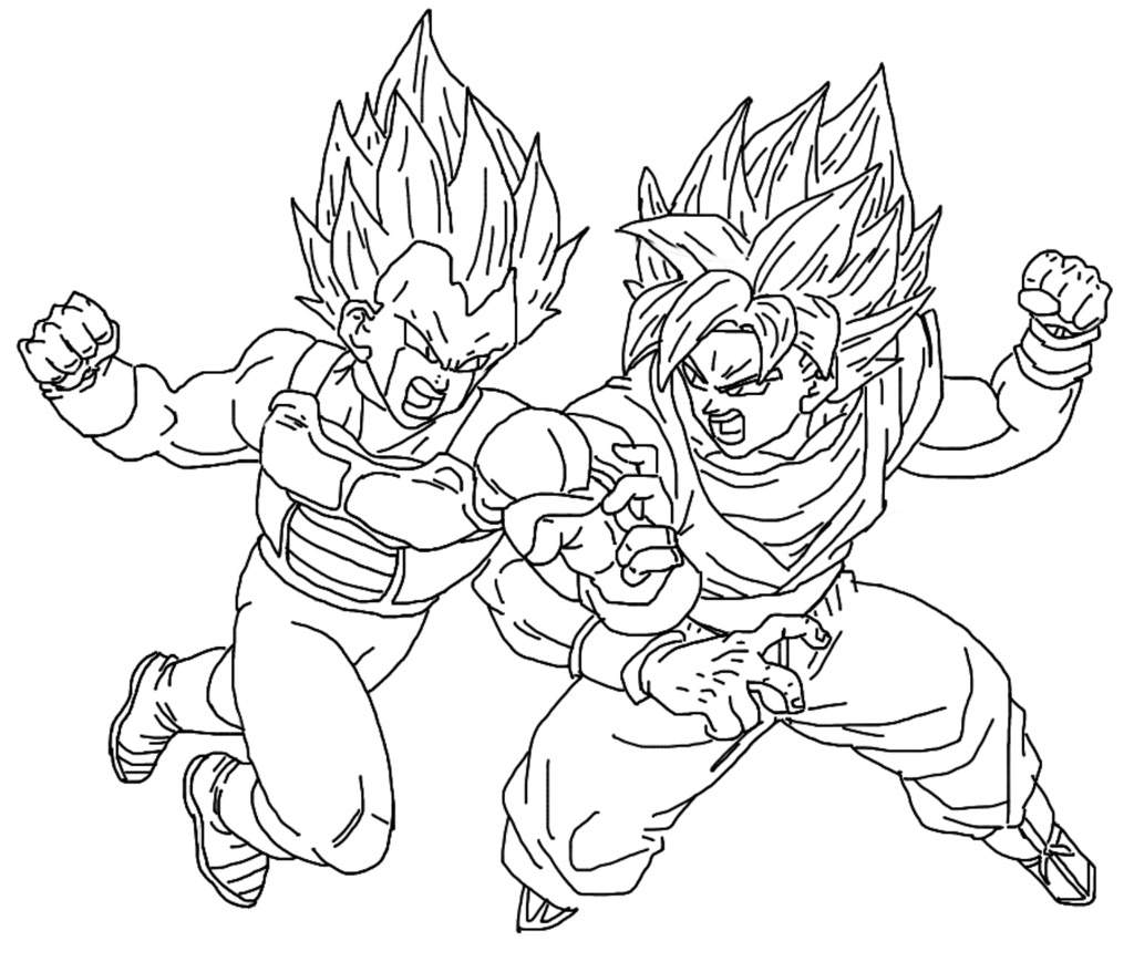 New drawing ssgss goku vs ssgss copy vegeta for Dbz coloring pages goku