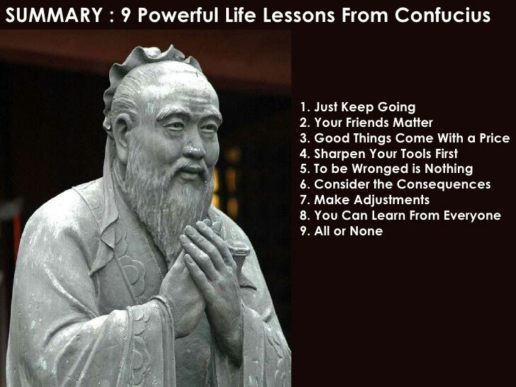 confucius teachings Confucius: 1° list 2° biography 3° anecdotes, historical context, teachings, legacy 4° dictionary 5° film, map 6° links confucius (film).