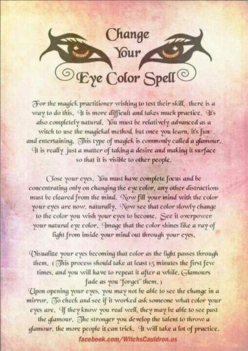 Eye Colour Changing Spell The Witches Circle Amino