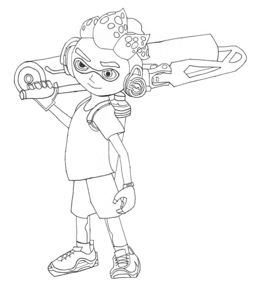 splatoon 2 inkling boy art lineart splatoon amino