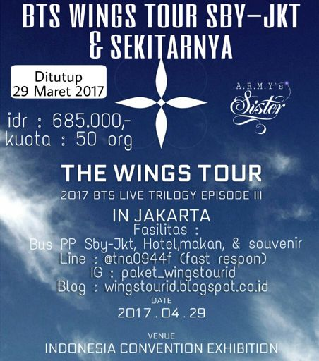 Paket Akomodasi The Wings Tour 2017 Sby Jkt Bts Army
