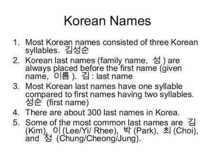 Here Is The List Of Some Popular Korean Last Names And What They Mean