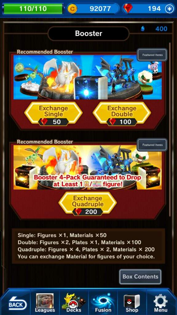 These are pictures of the Pokemon Duel shop. You can buy gems that you could use to buy boosters and these boosters are what you get your pokemon from.
