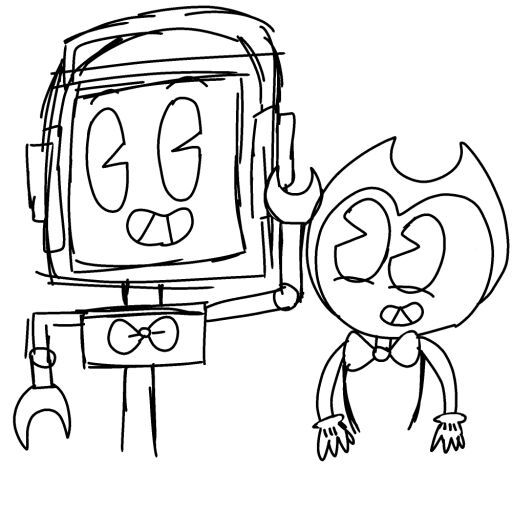 Fandroid i bendy drawing Bendy
