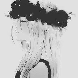 черно белые картинки девушки аниме