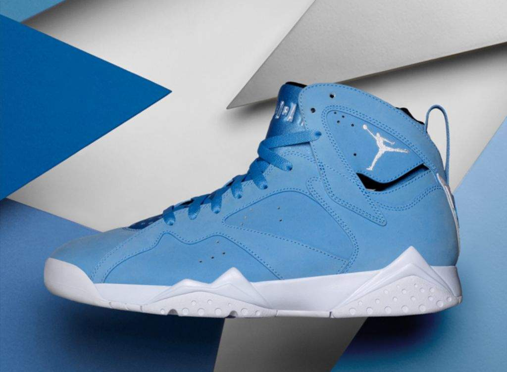 9ae888a146ea Paying homage to MJ s alma mater University of North Carolina..this dope  pair of 7s are drapped in a Carolina blue on a nubuck upper with white ...