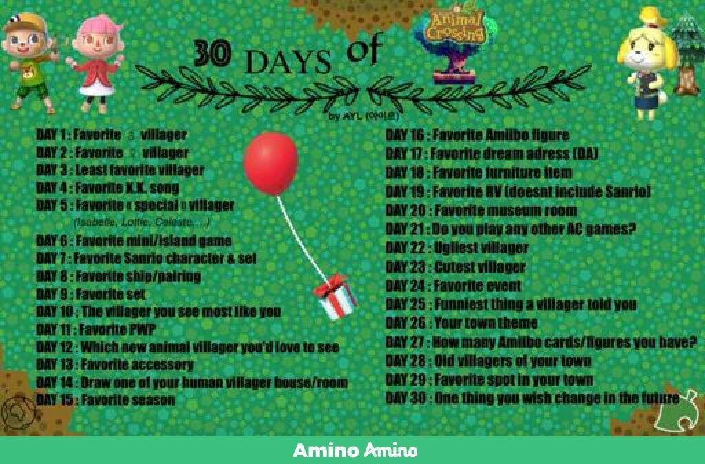 30 days of animal crossing day 5 animal crossing new leaf amino