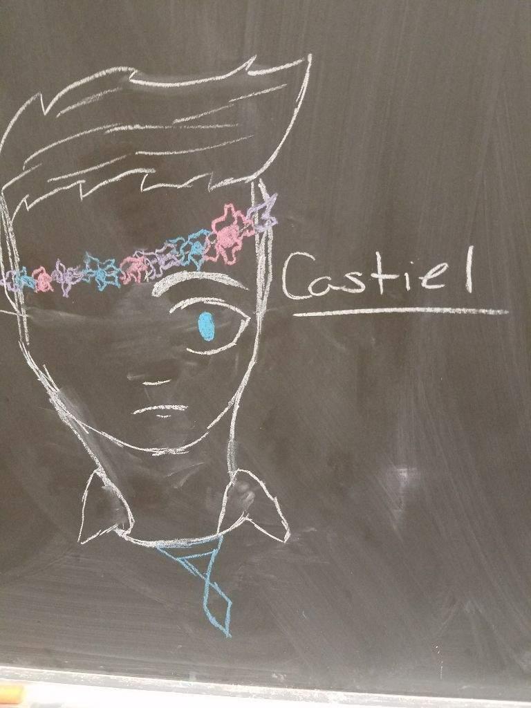 Castiel With Flower Crown Chalk Supernatural Amino