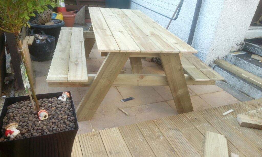First Picnic Table Maker Amino - Treated lumber picnic table