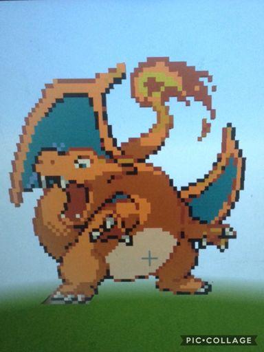 Charizard Mega Evolution Line Minecraft Pixel Art Pokémon