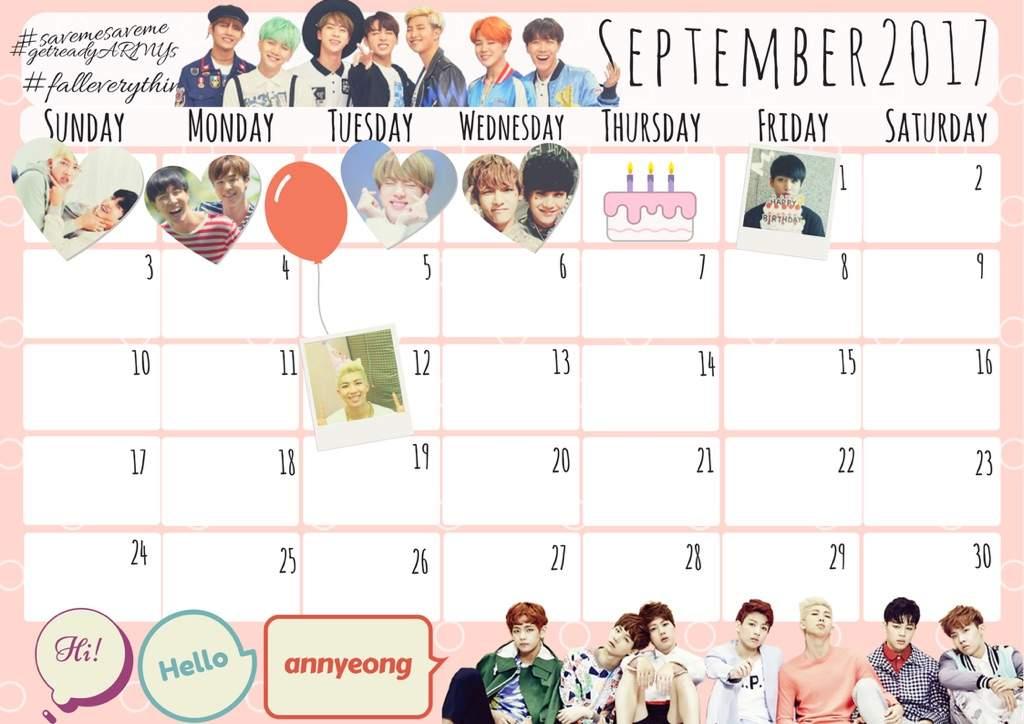 august   september calendars for bts