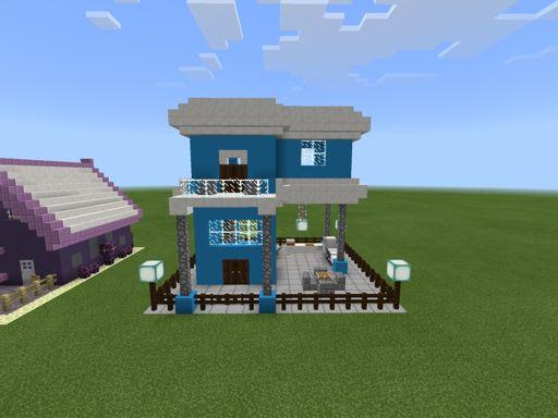 Blue Modern House Build 14 Minecraft Amino