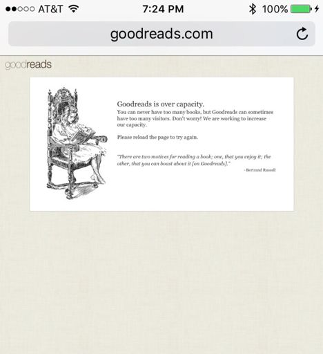 Ever Been Denied Entry To Goodreads B/c Of Overcapacity