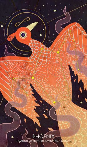 Phoenix/The World tarot card by Camille Chew