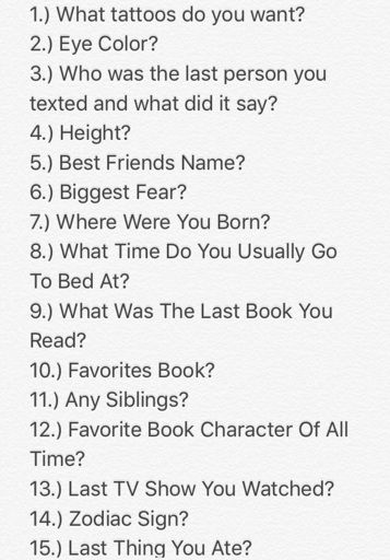 Ask me a number questions